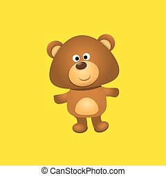 vector funny and ute Teddy bear cartoon character isolated on orange background . funny kids background or greeting card template with plush bear toy