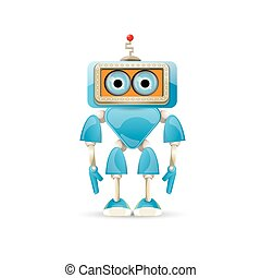 vector funny cartoon blue robot character Isolated on white...