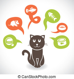Vector funny cartoon cat and his thoughts about food - cute...