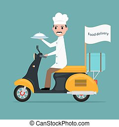 Vector funny cartoon chef cook man scooter food