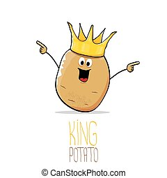 vector funny cartoon cool cute brown smiling king potato