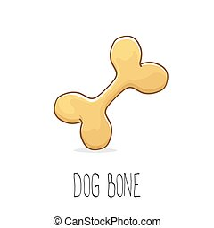 vector funny cartoon cute brown dog bone
