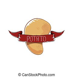 vector funny cartoon cute brown potato icon isolated on brown background. potato label design template for stickers, banners, posters and menu