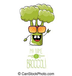 vector funny cartoon cute green broccoli character