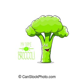 vector funny cartoon cute green broccoli character