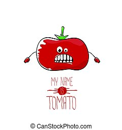 vector funny cartoon cute red tomato