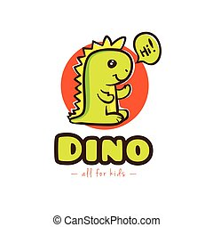 Vector funny cartoon dino logo. Baby dinosaur logotype -...