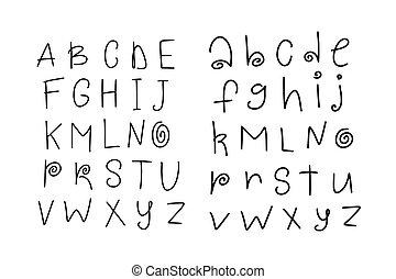 Vector funny cartoon hand drawn marker alphabet. Kid