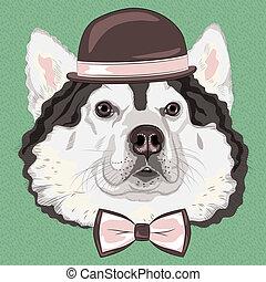 vector funny cartoon hipster Alaskan Malamute dog