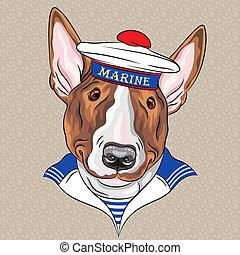vector funny cartoon hipster dog Bullterrier sailor - sailor...