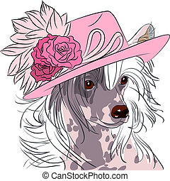 vector funny cartoon hipster dog Chinese Crested breed -...