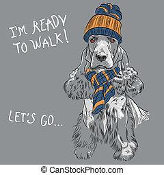 vector funny cartoon hipster dog English Cocker Spaniel...