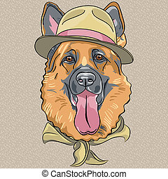 hipster dog breed German shepherd in a green hat and neckerchief