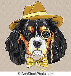 vector funny cartoon hipster dog King Charles Spaniel - ...