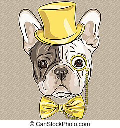vector funny cartoon hipster French Bulldog dog - hipster...