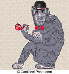vector funny cartoon hipster monkey