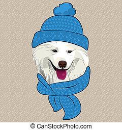 vector funny cartoon hipster Samoyed dog smile