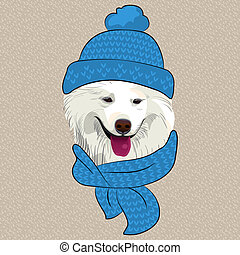 vector funny cartoon hipster Samoyed dog smile