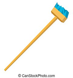 Vector funny cartoon illustration of mop and broom isolated. Cleaning flat symbols