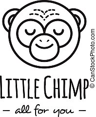 Vector funny cartoon monkey head logo. Line style chimp logotype.