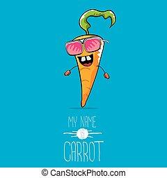 vector funny cartoon orange carrot character - vector funny...