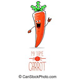 vector funny cartoon orange carrot isolated