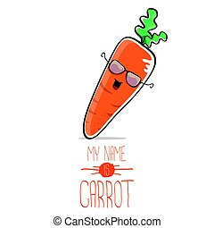 vector funny cartoon orange carrot isolated