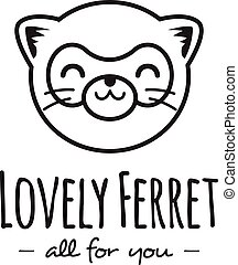 Vector funny cartoon polecat head logo. Line stle ferret...