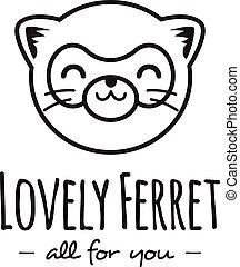 Vector funny cartoon polecat head logo. Line stle ferret logotype.