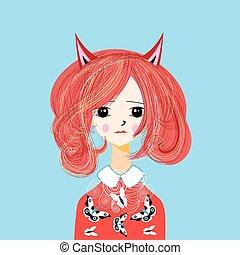Vector funny cartoon portrait of a girl