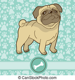 Vector funny cartoon pug - on blue background with pattern
