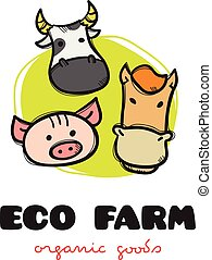 Vector funny cartoon style eco farm logo with pig, cow and horse. Sketchy doodle farm animals logo