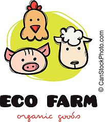 Vector funny cartoon style eco farm logo with pig, hen and sheep. Sketchy doodle farm animals logo