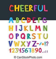 Vector funny comics font. Hand drawn colorful cartoon English alphabet letters. Vector illustration