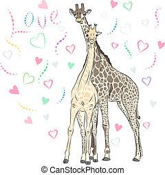 Vector Funny couple in love giraffes - Funny couple in love ...