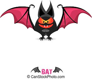 vector funny devil bat with wings. halloween character