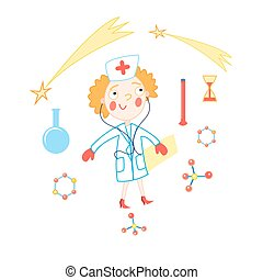 Vector funny doctor on a white background