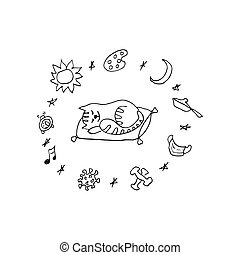 Vector funny illustration of a cat sleeping on a pillow in quarantine. Funny illustration of procrastination