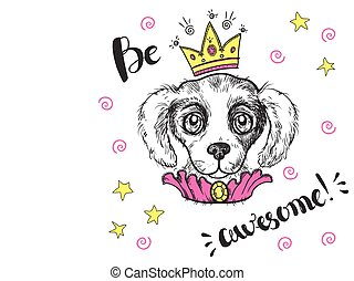 Vector funny illustration. Portrait of a dog with a crown and ch