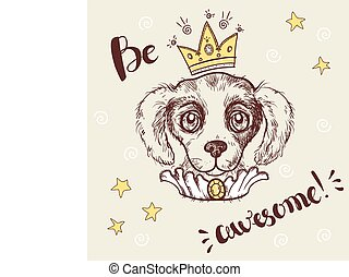 Vector funny illustration. Portrait of a dog with a crown...