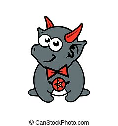 Vector funny little imp Cartoon Illustration.