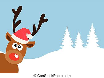red nose deer - vector funny red nose deer