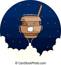Vector funny stylish coffee character