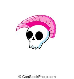 Vector funny symbol white skull with punk mohawk isolated on...