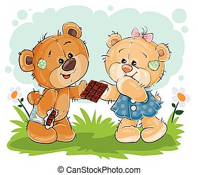 Vector funny teddy bear sweet tooth treats his girlfriend chocolate