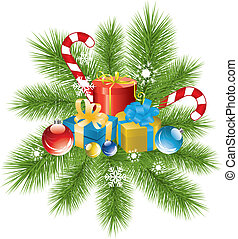 vector fur tree branch, xmas decoration and gifts