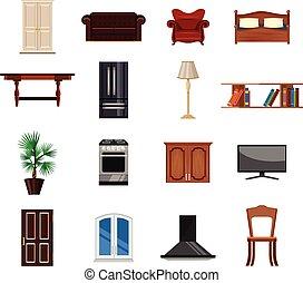 Vector furniture flat icon set