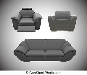Vector furniture icon set. Sofas