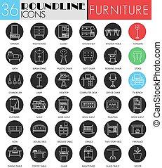 Vector furniture interior circle white black icon set. Modern line black icon design for web.