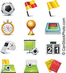 vector, futbol, conjunto, icono